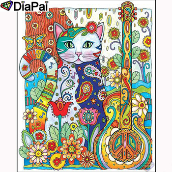 DIAPAI Diamond Painting 5D DIY 100% Full Square/Round Drill Cat flower key Embroidery Cross Stitch 3D Decor A23669