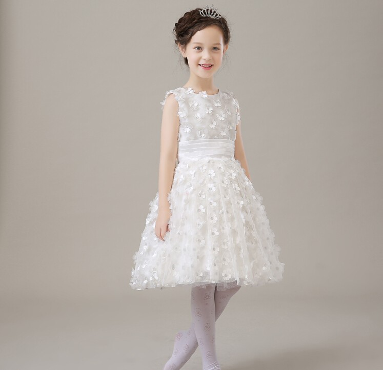 Elegant Girls Wedding Evening Party Dresses,White petals Ball Gown A-line Infant Princess Birthday Flower Girl Dresses 1 design laser cut white elegant pattern west cowboy style vintage wedding invitations card kit blank paper printing invitation