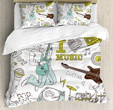 Party Duvet Cover Set I Love Music Themed Sketch Composition Instruments Musician Girl, Decorative 4 Piece Bedding Set