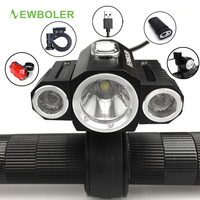 NEWBOLER Bicycle Light USB Adjust Angle Front 3X XML T6 LED Lamp Headlight 10000LM Cycling Lamp