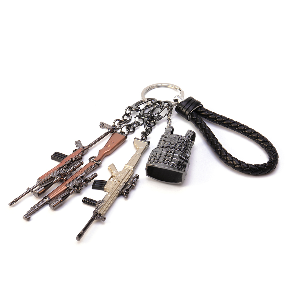 10cm Game PUBG Key Chain Playerunknown's Battlegrounds Weapons Gun Model Keychain High Quality Alloy Key Rings For Player Gift
