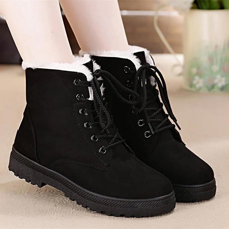 fe912576f005 Snow boots 2018 classic heels suede women winter boots warm fur plush  Insole ankle boots women shoes hot lace-up shoes woman – MAA