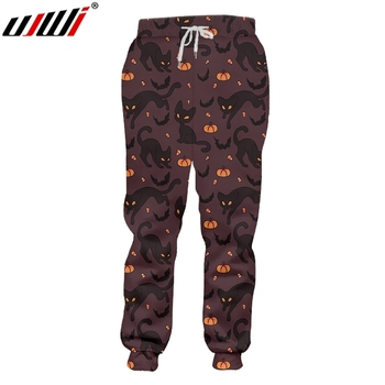 UJWI Man Black Yellow Stitching Trousers 3D Printed Halloween Theme Cat And Pumpkin New Recommend Sweatpants