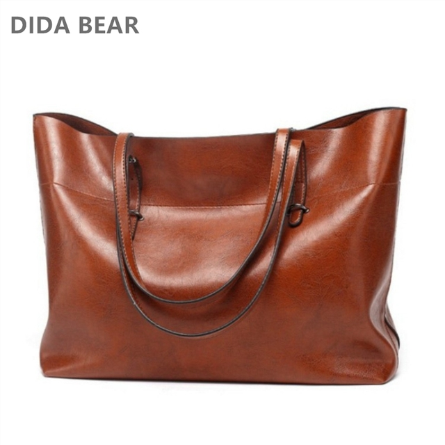 Large Capacity Real Leather Handbag For Women