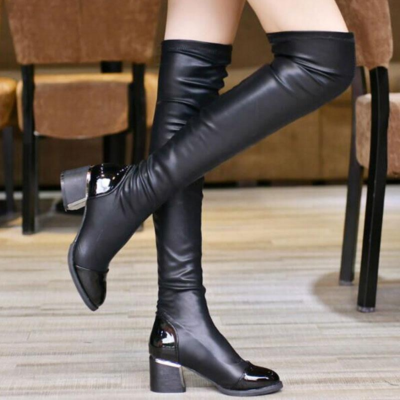2017 Mode Oberschenkel Hohe Stiefel Für Frauen Herbst Winter Über Knie Stiefel Dame Elastische Dehnung Dicke Ferse Schuhe Größe 40 Xwx1490