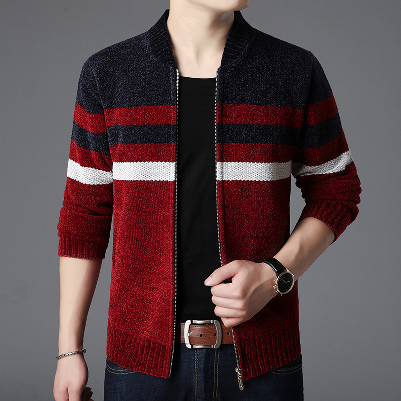 2019 Brand Clothing Thicken Winter Sweater Men Pattern Striped Zipper Warm Outwear Jacket Wool Liner Cardigan Ropa De Hombre Y1 Cardigans Sweaters