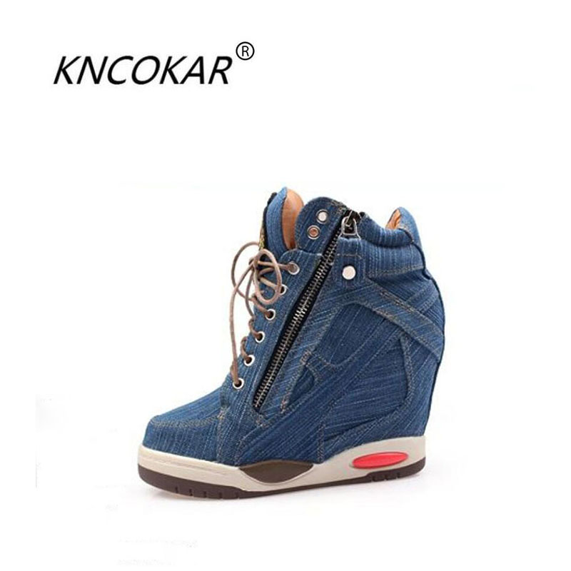 KNCOKA 2018 Summer new style women comfortable wedge heel fashion simple denim canvas fish mouth open