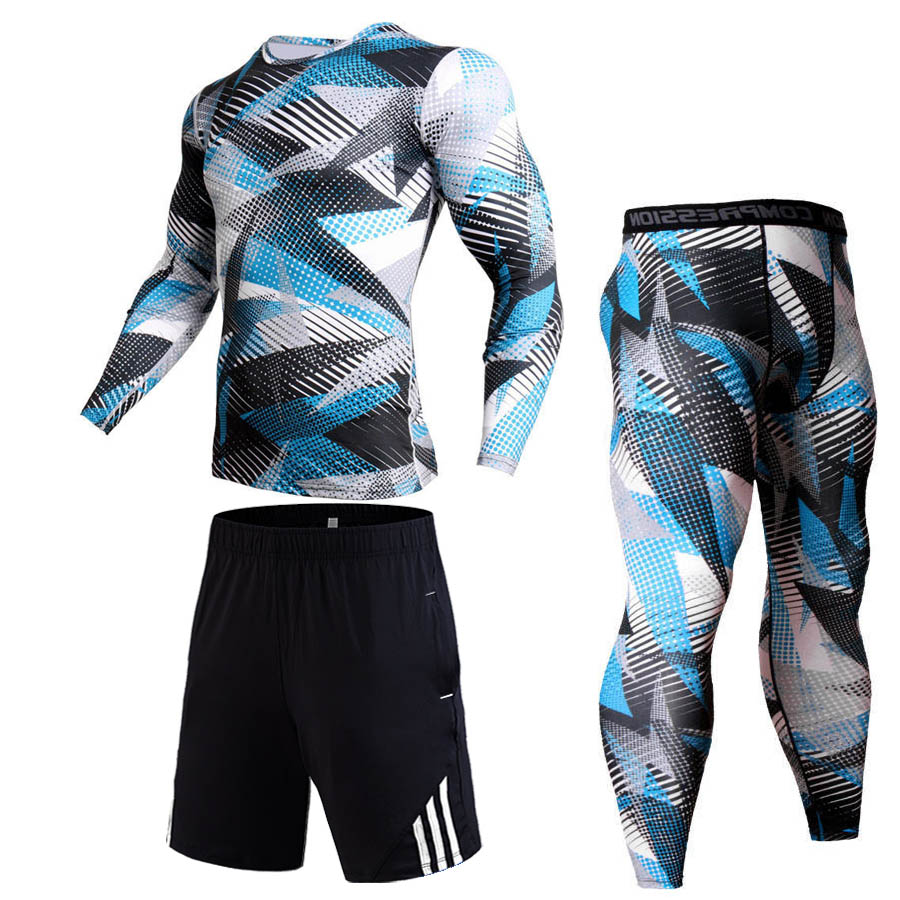 Mens Tracksuit Set Sport Leggings T-shirt Gym Clothes Man Training Kit Compressed Base Layer Thermal Jogging Suit Rashgard Male