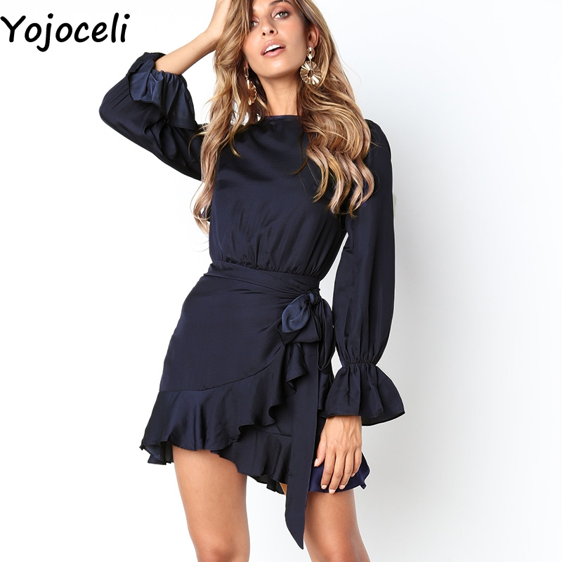 47aad5e2e8 Yojoceli Sexy ruffle wrap elegant party dress women vestidos Autumn winter casual  daily dress Red short cute mini dress female-in Dresses from Women s ...