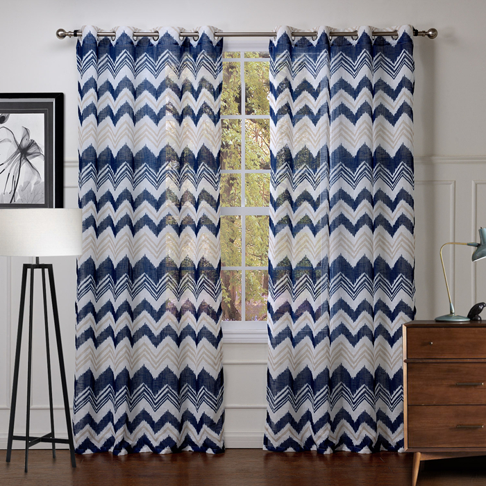 Living Room Curtains Printed Striped Fashion Europe Style Blue Polyester Curtain  Window Curtains Free Shipping (