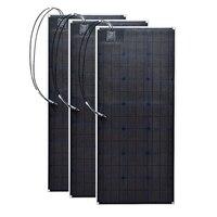 Гибкая 3 шт. 20,5 В 100 Вт монокристаллические солнечные панели сотового Открытый 300 Вт DIY 12 вольт комплекты колесах морской дома Кемпинг использ