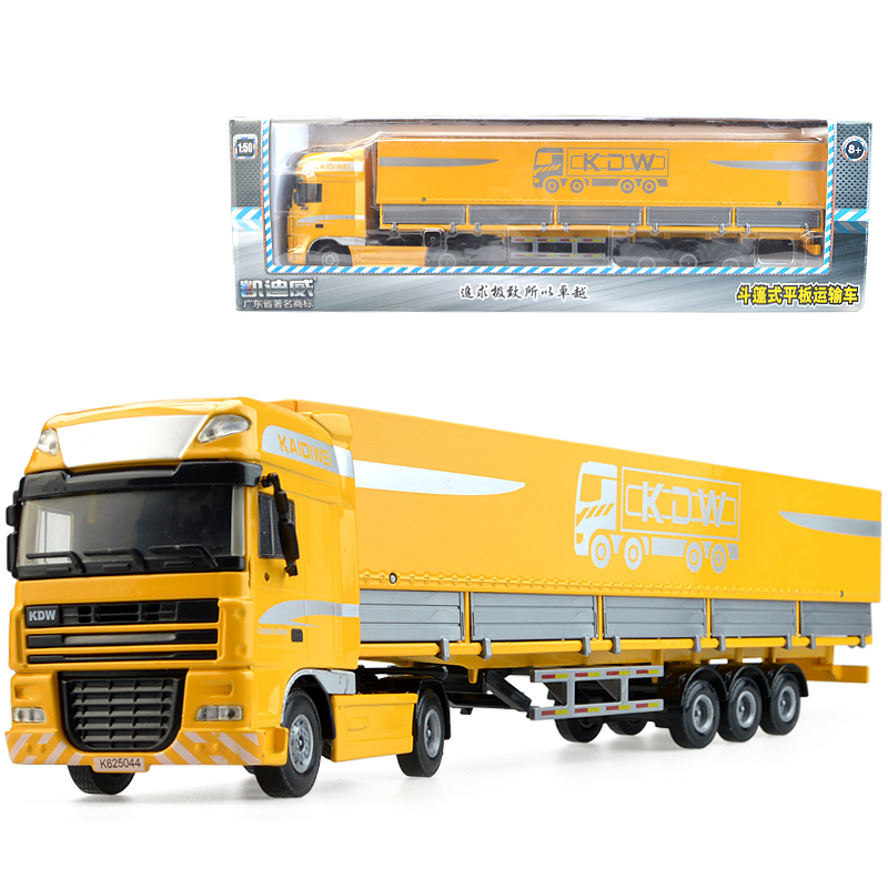 Alloy engineering model children's kid toy car container have box trailer truck Christmas new year gift collection