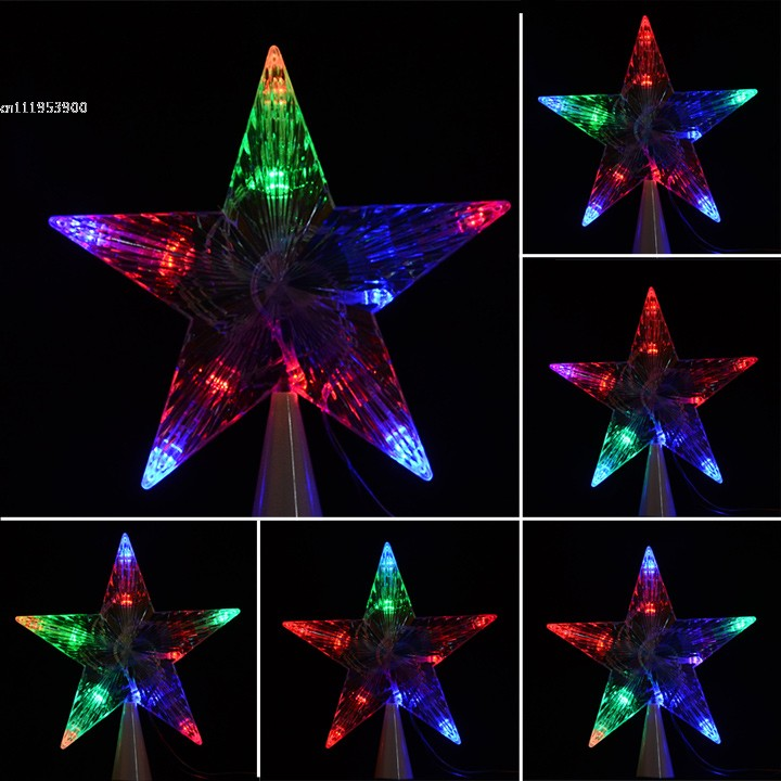 Colorful 10 LED Indoor Outdoor Christmas Tree Topper Star Lights Lamp Xmas  Decoration 29(China