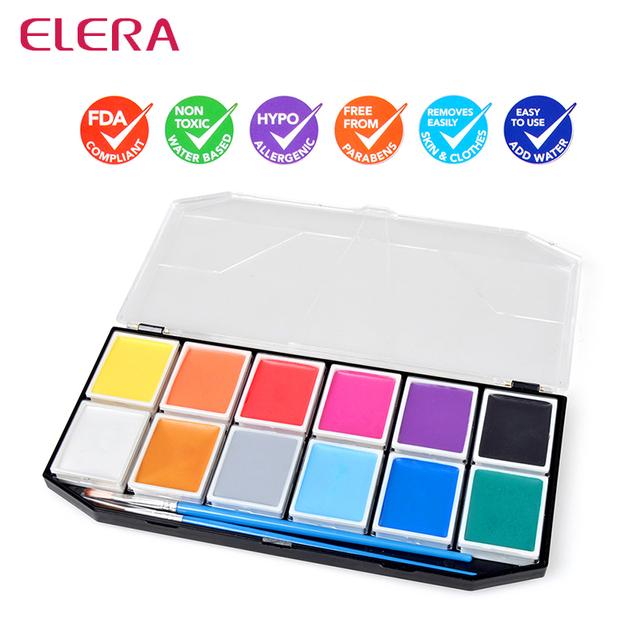 LA FDA NO TÓXICO Pigmentos a Base de Agua 12 Colores Pintura de La Cara Pintura Corporal Arte Partido Belleza Herramientas de Maquillaje fácil de Usar y Lavado