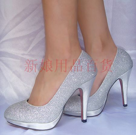 Silver wedding shoes bridal shoes wedding formal dress shoes ultra high heels phanero- figure