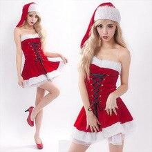 2017 Sexy Women Christmas Dress Red Costumes Santa Claus for Adults Uniform Kimono Xmas Costume Halloween