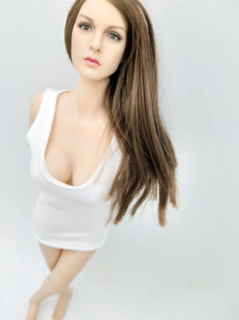 Fashion 1//6 Women Figure T-shirt Dress for 12inch Action Figure Doll White