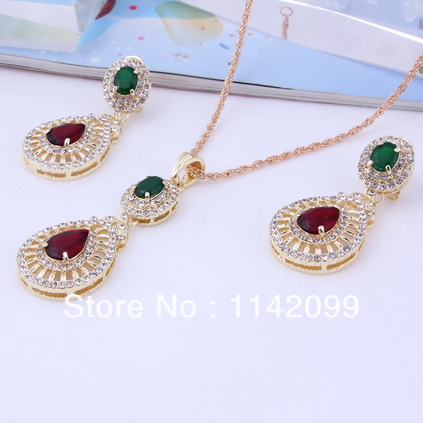 African Dubai Gold Plated Rhinestone Crystal Fashion Pendant