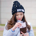 Fashion womens beanie winter hats for women Knitted wool bonnet pearl five-pointed star decoration gorros  girls beanies Ski cap