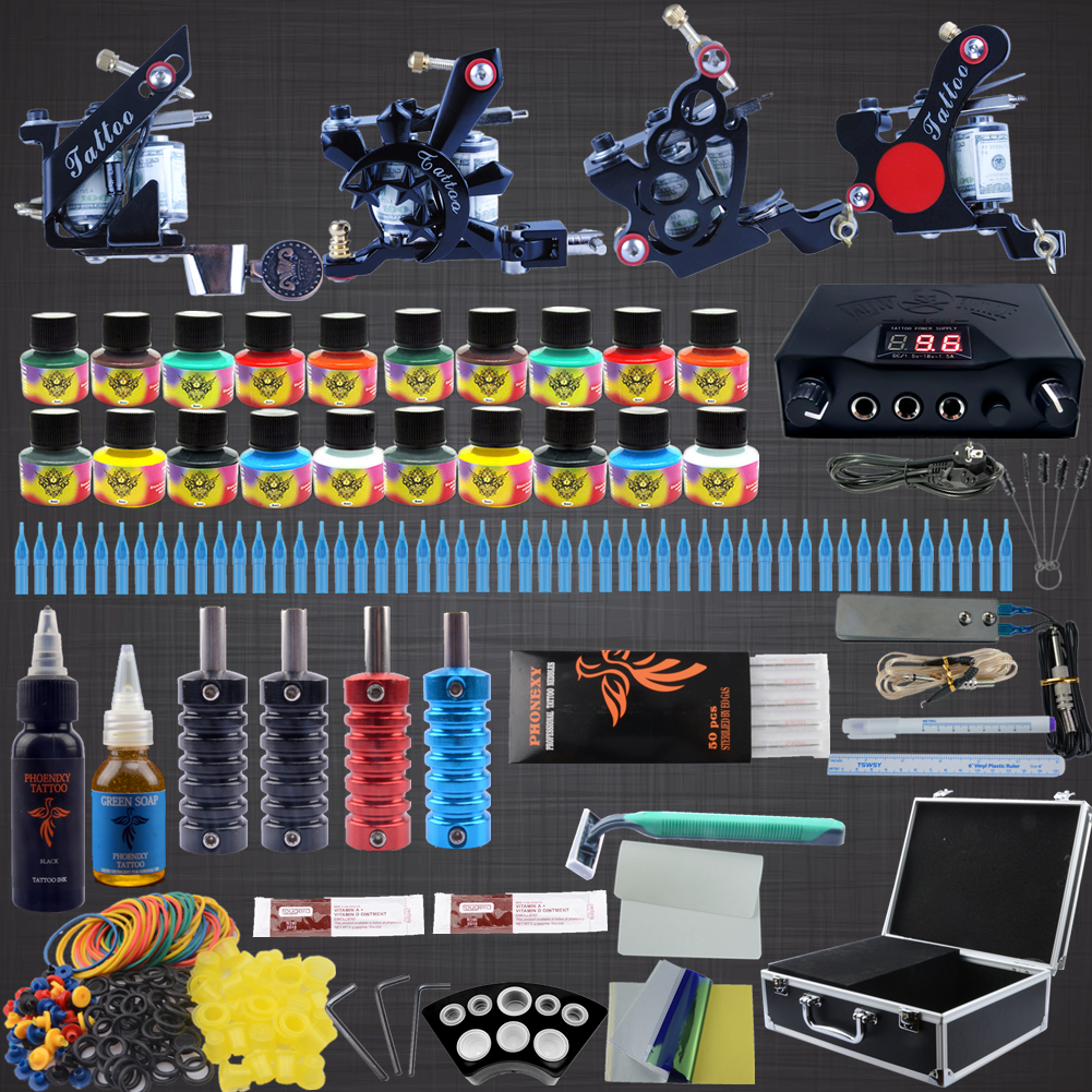 Professional Complete Tattoo Kit Tattoo Machine 4pcs Liner