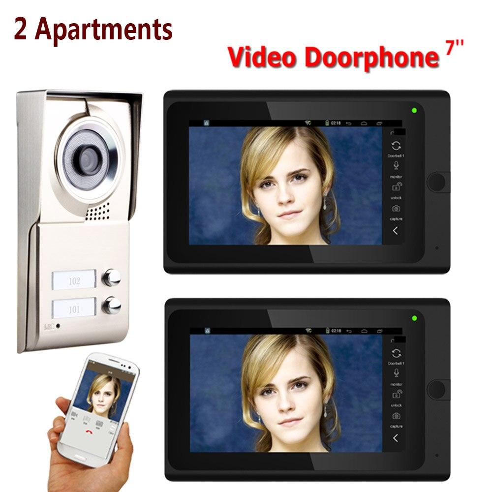 7 pouces enregistrement filaire Wifi 2 appartements vidéo interphone système IR-CUT HD 1000TVL caméra sonnette caméra avec 2 boutons 2 M