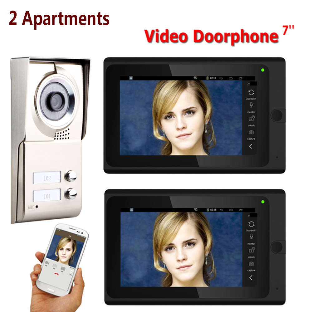 7inch Record Wired Wifi 2 Apartments Video Door Phone Intercom System IR-CUT HD 1000TVL Camera Doorbell Camera With 2 Button 2 M