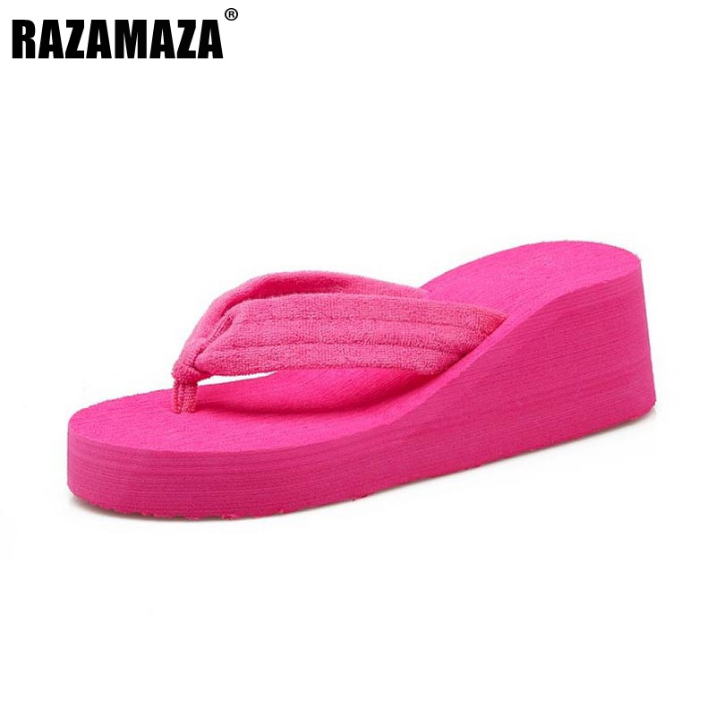 RAZAMAZA Size 35-40 Ladies Thick Platform Summer Shoes Women Trifle Flip Flops Slippers Women High Heels Wedges Soft Footwear