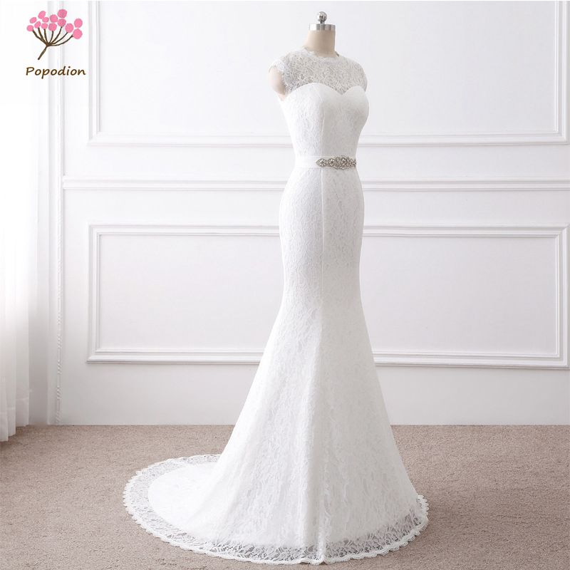 2018 Popodion Simple Lace Mariage Wedding Gown White Mermaid Wedding Dress Plus Size Bride Dress vestido De noiva WED90390 gown