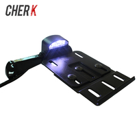 Cherk Motorcycle Telescopic Folding LED Light Side Mount License Plate Holder For Harley Dyna Sportster 883 1200 XL 07 16