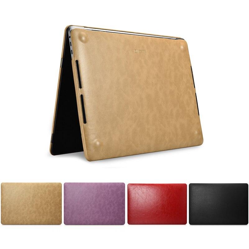 Mince Premium ordinateur portable en cuir synthétique polyuréthane housse pour Macbook Pro 13 A1706 A1708 A1989 Pro 15 A1707 A1990 nouveau 2018 2017 coque de protection