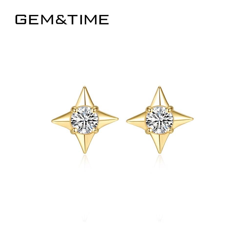 Bijou & Time vrai 14 K or étoile boucles d'oreilles pour les femmes de fiançailles de mariage bijoux fins 14 K or jaune Orecchini Donna AU585 E14119