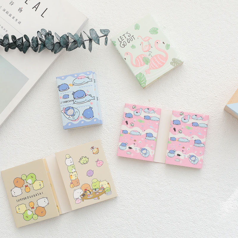 Creative cartoon Folding Whale Flamingo Totoro Memo Pad N Times Sticky Notes Memo Notepad Bookmark Gift Stationery 2pcs creative students stationery post it note with writing pad clip cartoon cute n times posted message notes
