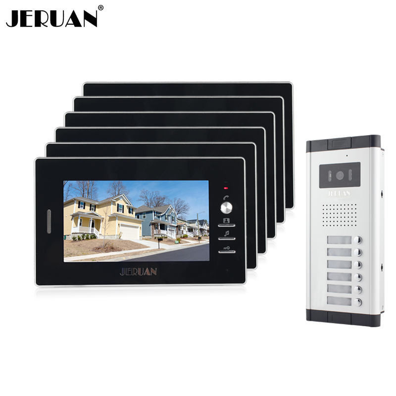 JERUAN New Apartment Intercom System 7`` Color Video Door Phone intercom System video intercom  For 6 house 1V6 Free shipping my apartment