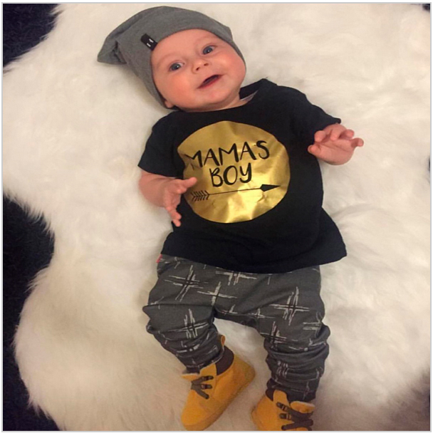 Baby boy clothing sets Newborn Toddler Casual T-shirt + Pants Outfits set Gold Mamas boy printed Infant baby girl clothes t shirt tops cotton denim pants 2pcs clothes sets newborn toddler kid infant baby boy clothes outfit set au 2016 new boys