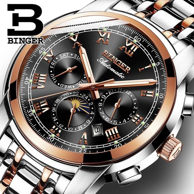 שוויץ אוטומטי מכאני שעון גברים Binger יוקרה מותג Mens שעונים ספיר שעון עמיד למים relogio masculino B1178 3