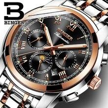 Швейцарские автоматические механические мужские часы Binger, роскошные Брендовые мужские часы s, сапфировые часы, водонепроницаемые мужские часы, мужские часы