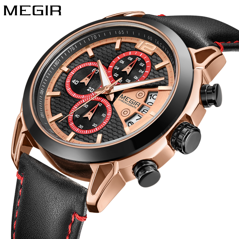 New MEGIR Mens Watches Top Brand Luxury Gold Quartz Men Watch Black Leather Strap Chronograph Sport Wristwatch Relogio Masculino oulm mens designer watches luxury watch male quartz watch 3 small dials leather strap wristwatch relogio masculino