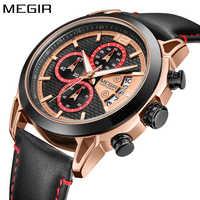 New MEGIR Mens Watches Top Brand Luxury Gold Quartz Men Watch Black Leather Strap Chronograph Sport Wristwatch Relogio Masculino