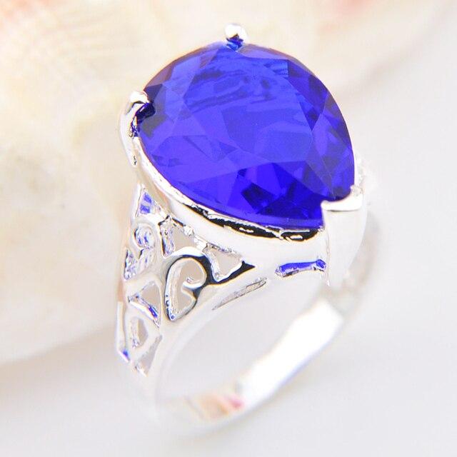 2Pcs 1 Lot Shiny Crystal drop Blue Created Stone Wedding Rings
