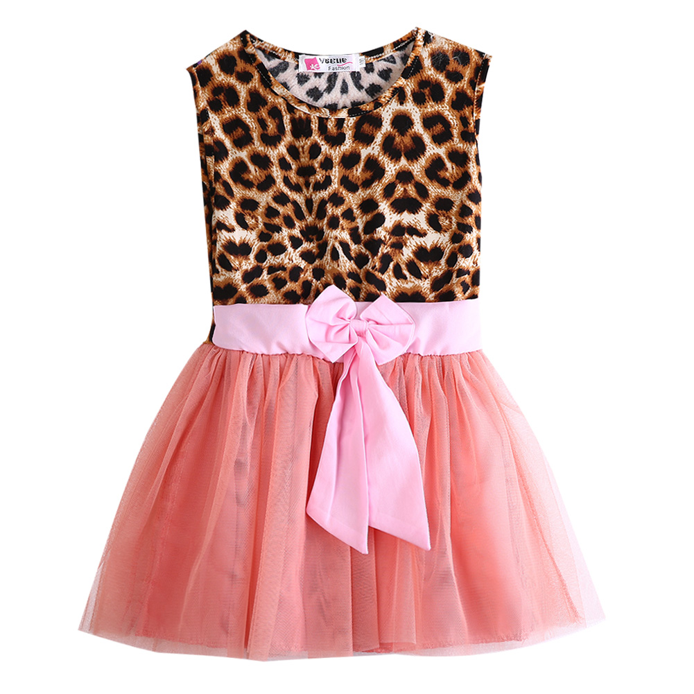 Fashion Pretty Kids Baby Girls summer Clothes Ruffle Leopard Shirt  Party Dress 2-8 Years