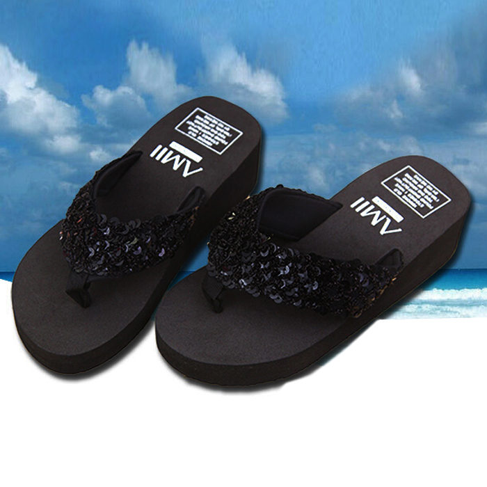 ecfa4d1dc8ace7 VSEN New slippers female beach sandals for women Rhinestone Crystal wedges  platform elevator slip-resistant paillette 5 colors free shipping worldwide