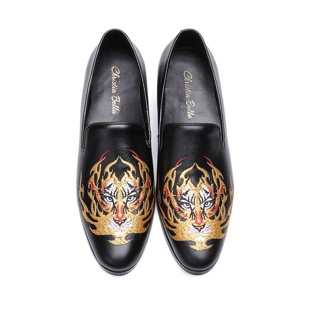 Chaussures Noir Casual Broderie Bella Slip Cuir Véritable Hommes Christia Mocassins Britannique En Parti Style De Mariage On Robe H4qnwTO