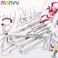 Black Brown Grey Water Based Brush Markers Marvy Waterproof Pigment Liner Triangular Fineliner Pens For Art
