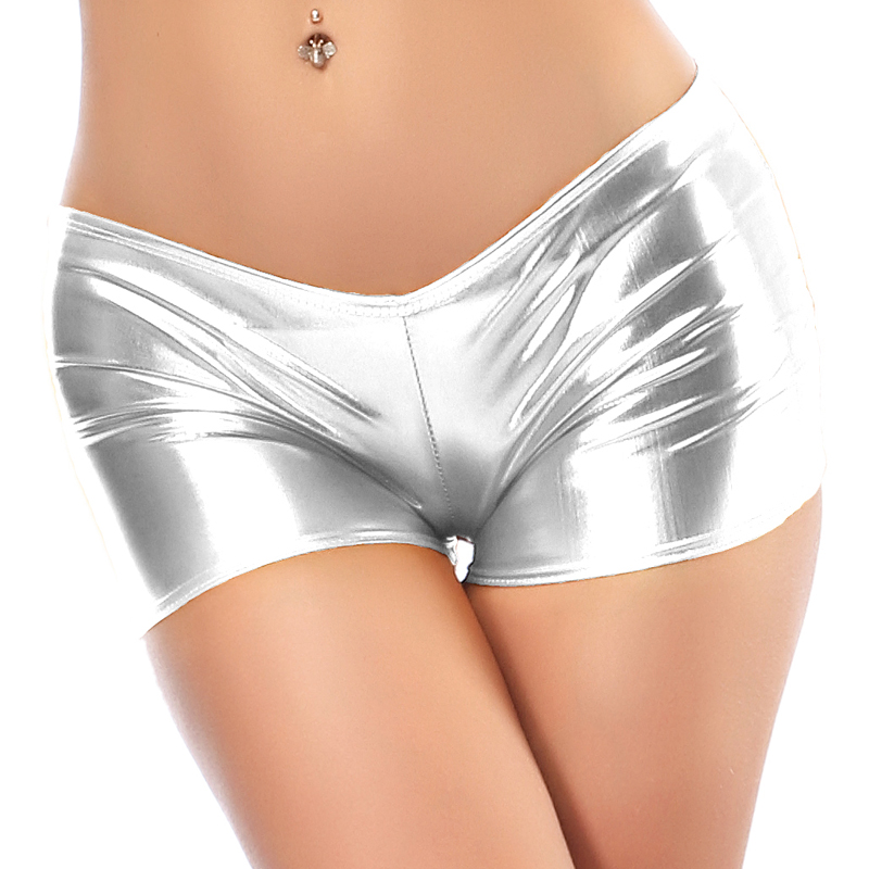 Sexy Low Waist PU Leather Shiny Performance Dancing Calcinha Panties Women Boxer Boyshort Pole Dance Clubwear Booty Shorts Short