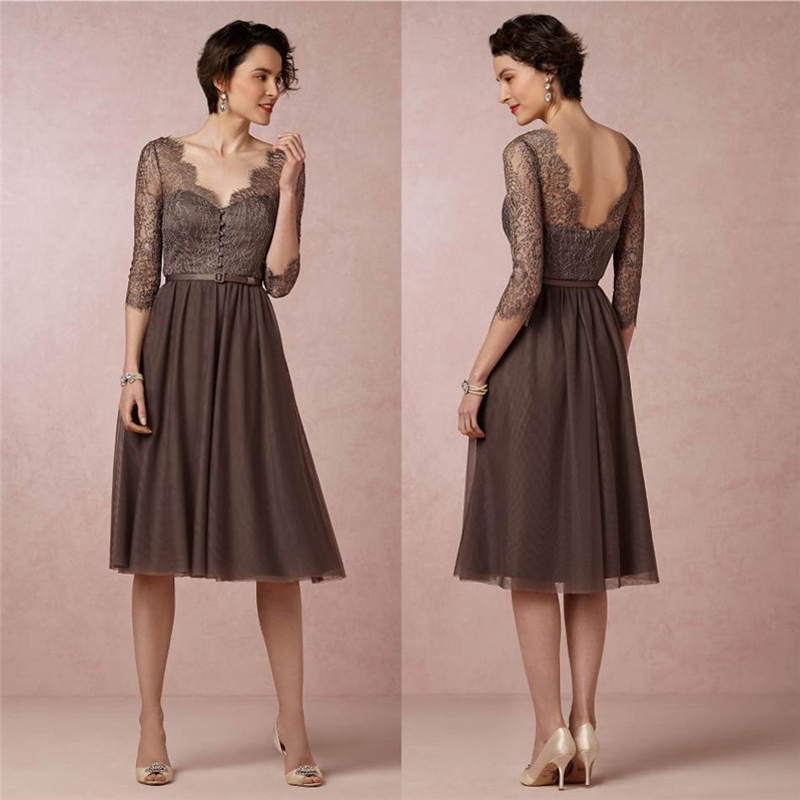 As Picture New Arrival A-line V-neck Lace Knee Length Evening Dresses Women Chiffon Elegant Mother Of The Bride Dresses 2014