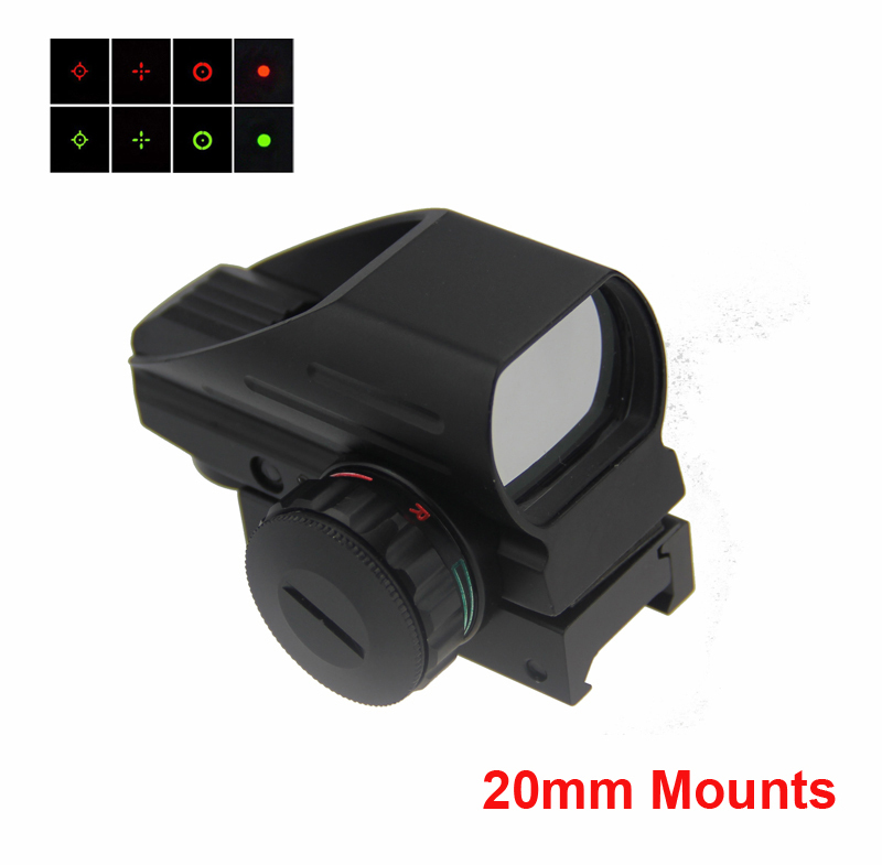 Tactical Optics Multi Reticle 1x22x33 Compact Reflex Red Green Dot Sight Scope Gun Sight For Airsoft With 20mm Weaver Mount