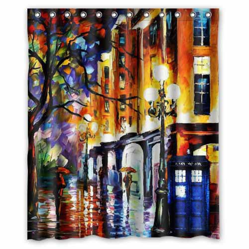 Tv Show Doctor Who Police Box Painting Printed Polyester Shower Curtain 60 X 72 Inch American Style Bathroom