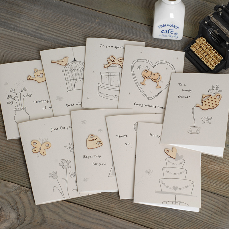 Cute Mini Greeting Cards With Envelope Wood Ornament
