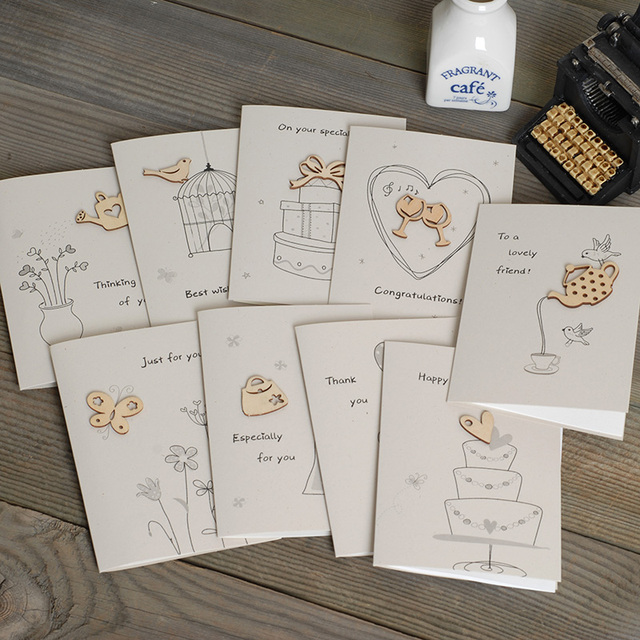 Cute Mini Greeting Cards With Envelope Wood Ornament Handmade Cards