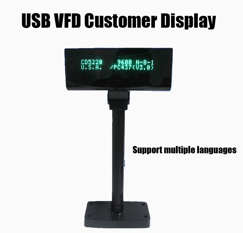 HS-VFD220 POS USB VFD Customer Display for Laptop, support multiple languages